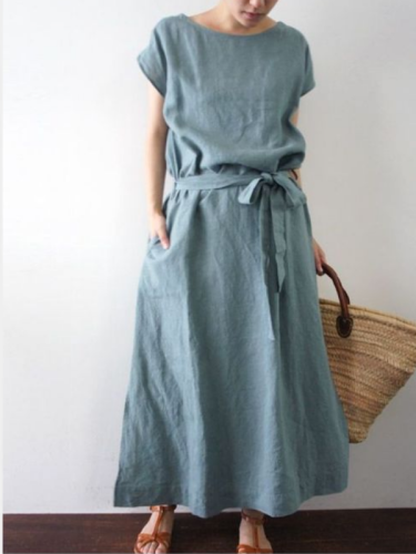 Solid Short Sleeve Pockets Casual Dresses