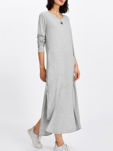 Polyester Solid Casual Slit Dress