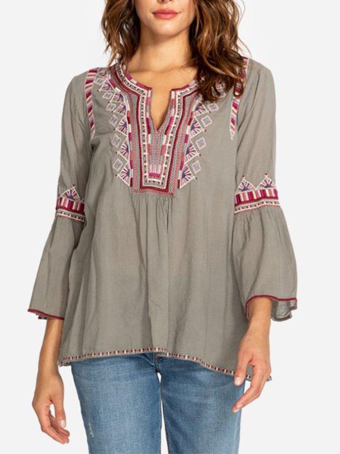 V Neck Elegant Half Sleeve Cotton-Blend Shirts & Tops