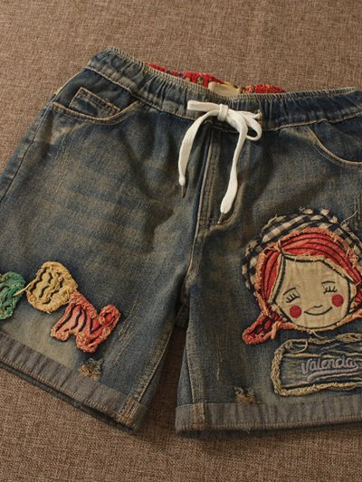 As Picture Pockets Denim Casual Pants