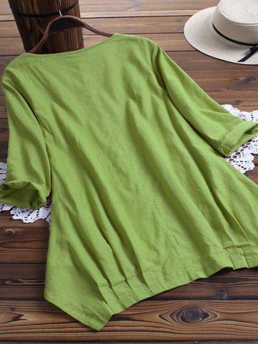 Short Sleeve Asymmetrical Casual Shirts & Tops