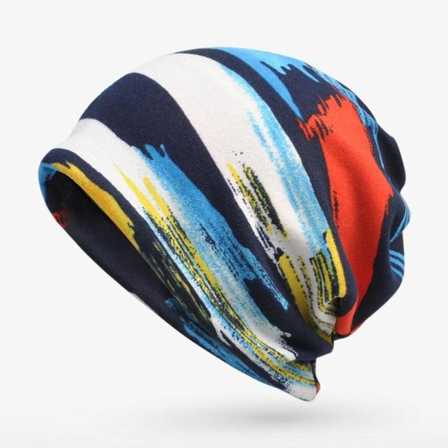 Winter Casual Knitted Hats Designer Bonnets For Women Blue Red Graffiti Warm Velvet Crochet Scarf Cap