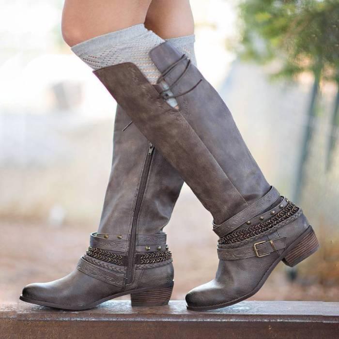 Women Casual Low Heel Zipper Mid-Calf Boots