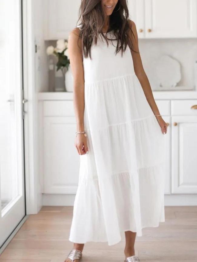 White Round Neck Sleeveless Solid Dresses