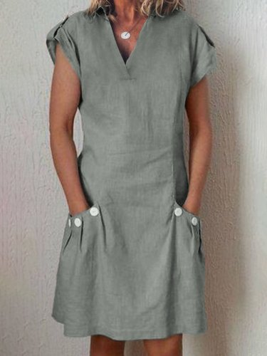 Linen Casual Short Sleeve Paneled Causal Dresses