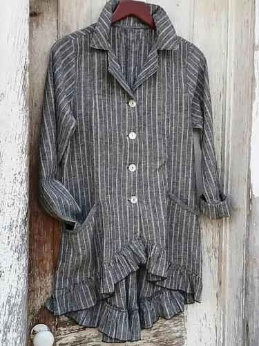 Gray Shirt Collar Linen Long Sleeve Stripes Shirts & Tops