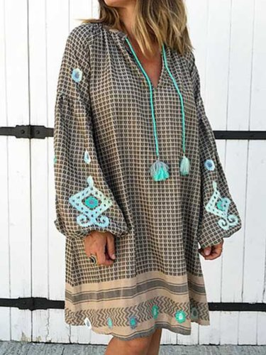 Women V Neck Casual Loose Tops Tunic Maxi Dress