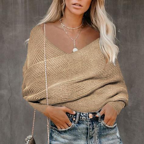 Casual Pure Color Shoulder Collar Sweater