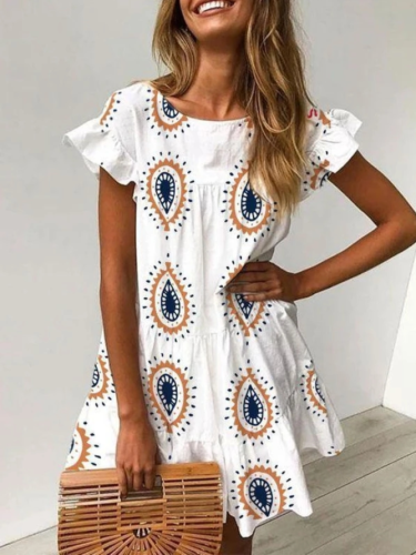 White Cotton Casual Dresses