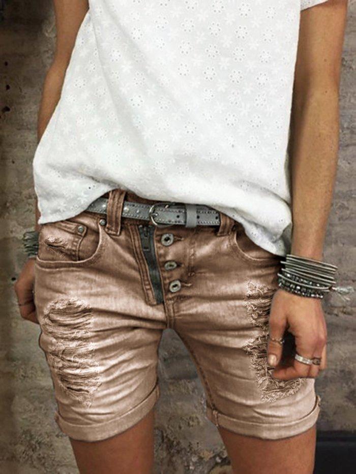 Button Down Zipper Plus Size ombre Shorts Pants