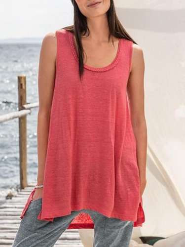 Watermelon Cotton-Blend Sleeveless Solid Shirts & Tops