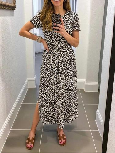 Leopard Cotton-Blend Crew Neck Casual Leopard Dresses