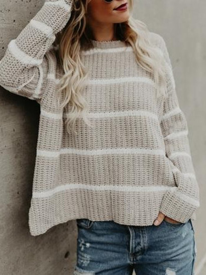 Stripe Knitted Striped Long Sleeve Crew Neck Sweaters