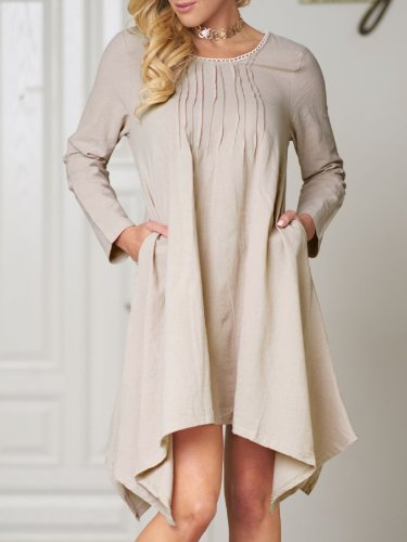 Women Casual Linen Asymmetrical Buttoned Dress
