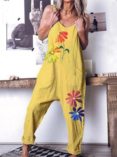 Yellow Sexy Spaghetti-Strap Floral Printed Shift Pockets One-Pieces