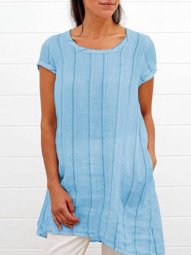 Casual A-Line Cotton-Blend Short Sleeve Shirts & Tops