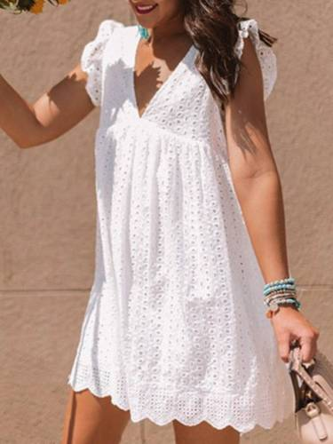 White Sleeveless Plain Cotton-Blend Dresses