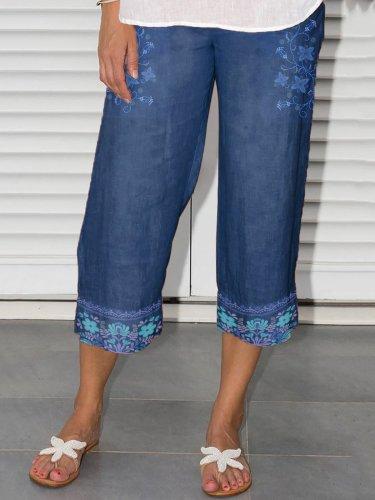 Bohemian Floral-Printed Casual Pants