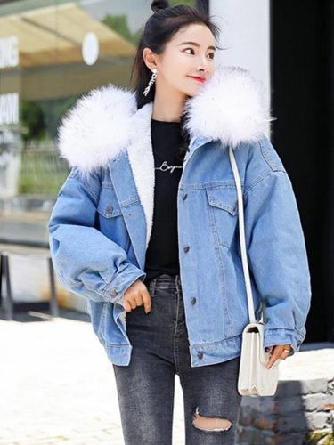Winter Denim Jacket Fashion Blue Jeans Jacket Coat Fur Collar Oversize Outwear