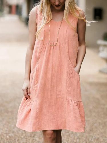 Apricot Pure Round Neck Casual Midi Dress