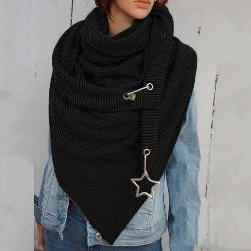 Scarf Women Fashion Printing Button Soft Wrap Casual Warm Scarves Shawls