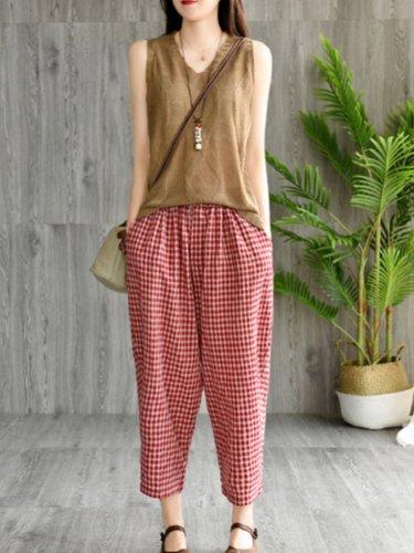 Plaid Elastic Waist Vintage Harem Pants