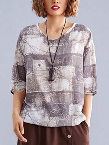 Summer Daily Casual Brown Cotton Top