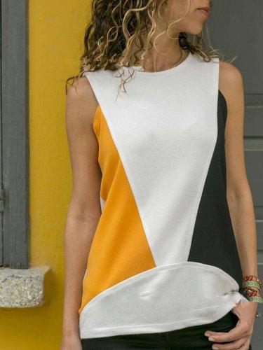 Cotton-Blend Color-Block Casual Shirts & Tops