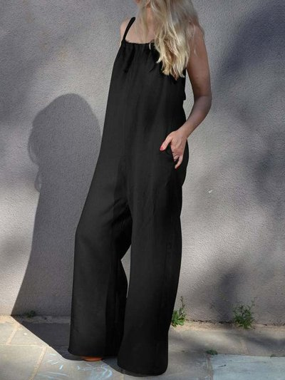 Plus Size Spaghetti-Strap Pockets Casual Loose Jumpsuits