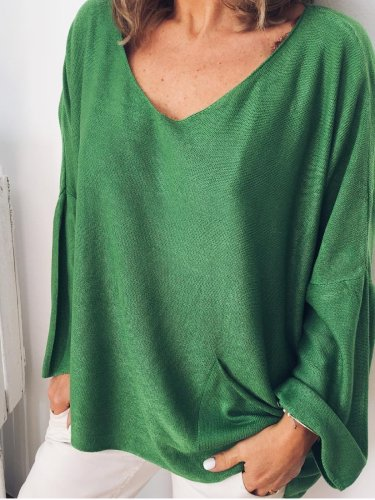Green V Neck Pockets Long Sleeve Cotton Shirts & Tops