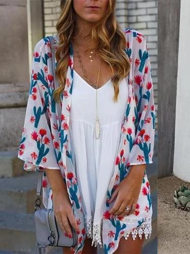 Casual Printed Colour Halflong Sleeve Cardigan