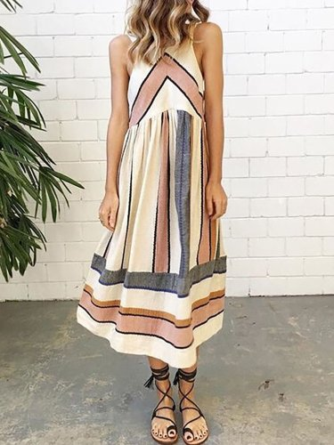 Women Stripes Casual Polyester Casual Dress