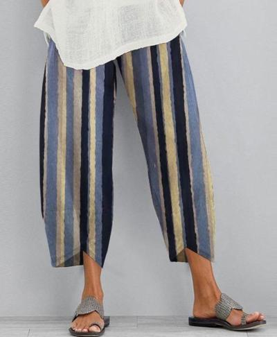 Vintage Striped Pants Casual Cotton Linen Pants Loose Elastic Waist Pantalon Plus Size Streetwear Trousers