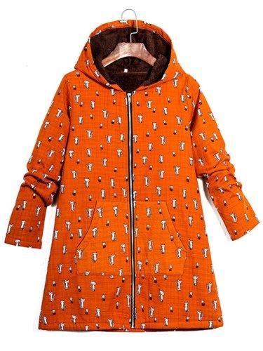 Cat Printed Hoodie Coat