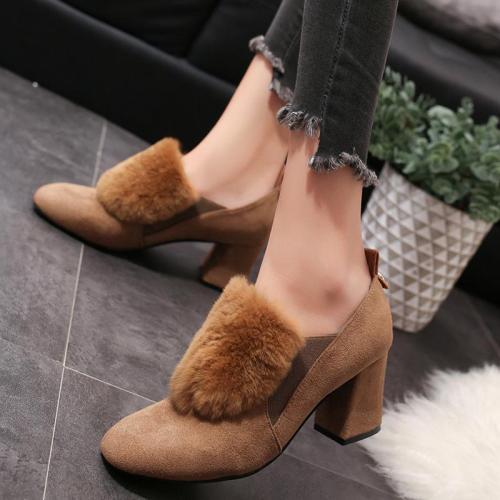 Elegant High Chunky Heel Shoes Flurry Dress Suede Pumps