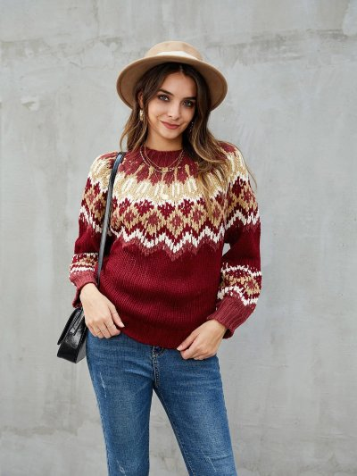 Burgundy Casual Tribal Knitted Acrylic Sweaters