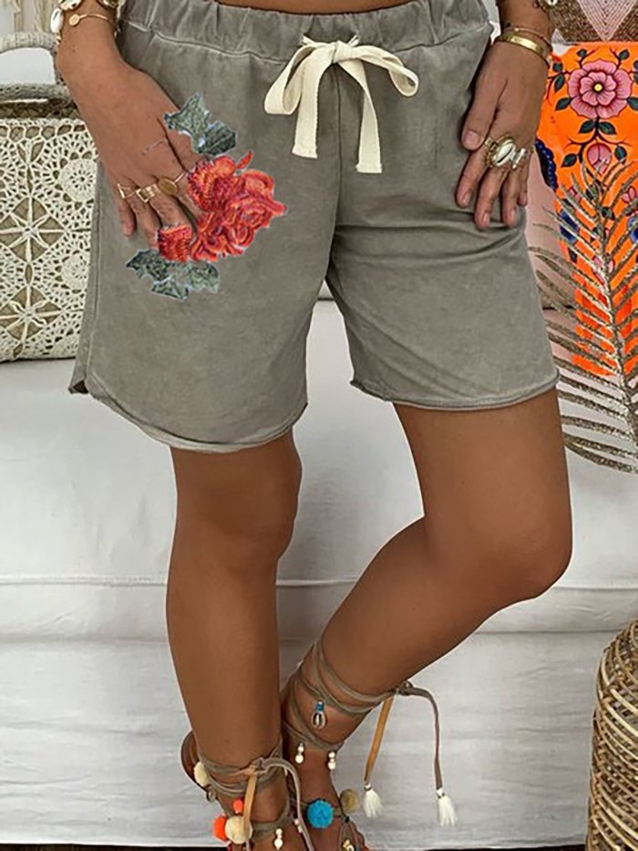 Casual Rose Embroidered Lace Up Elastic Waistband Pockets Shorts