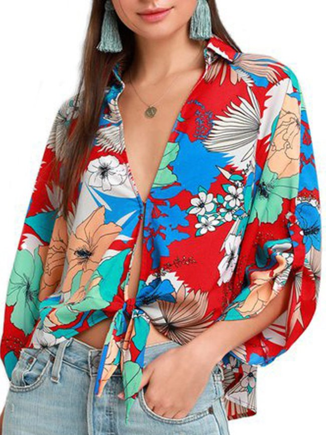 Flower V Neck Floral Sexy Shirts & Tops