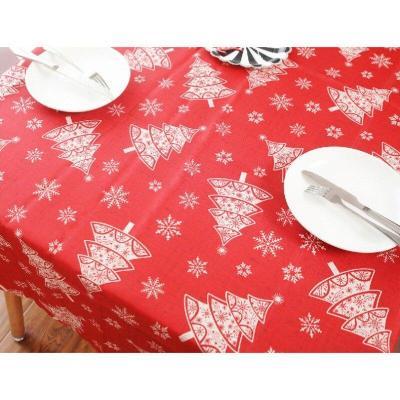 Christmas Linen Cotton Table Decor Nordic Snowflakes Deer Tree Mat Xmas Tablecloth