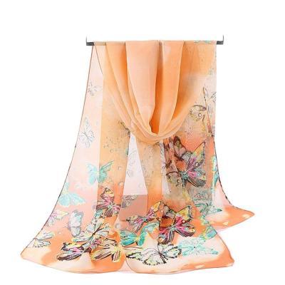 Women Chiffon Scarves Animal Simulation Silk Scarf middle long Shawl Female Spring Summer Literary Print Beach Wrap Wholesale