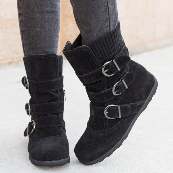 Casual All Season Knitted Fabric Low Heel Boots