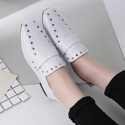Women Chunky Heel Artificial Leather Rivet Spring/Fall Loafers