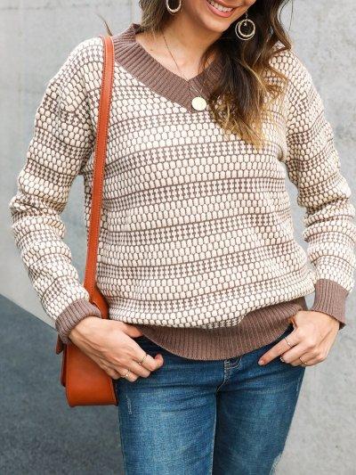 Knitted Shift Sweet V Neck Sweater