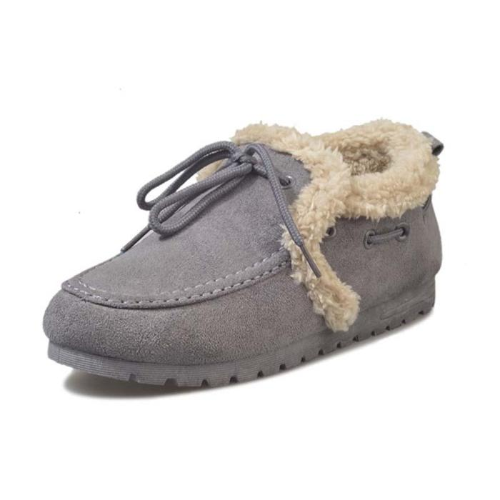Women Warm Snow Booties Flat Heel Winter Slip On Boots
