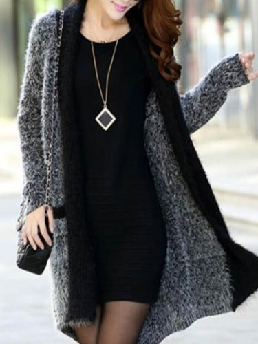 Elegant Fashion Slim Plain Long Sleeve Long Cardigan