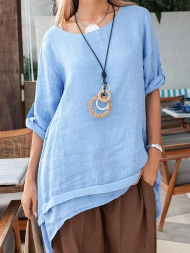 Blue Casual Linen Shirts & Tops