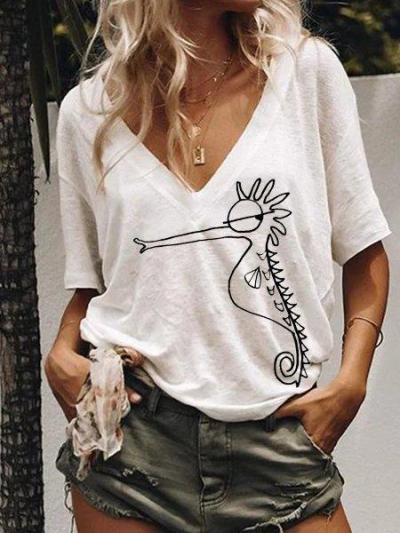 Animal Short Sleeve Seahorse Tops