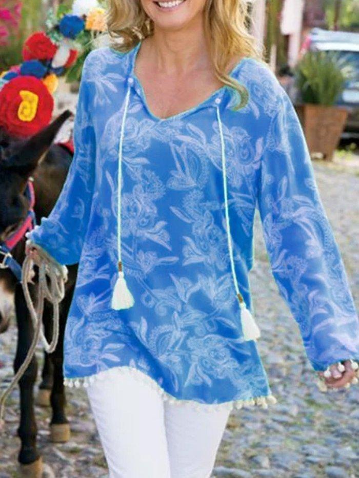 Light Blue Holiday Patchwork V Neck Cotton-Blend Shirts & Tops