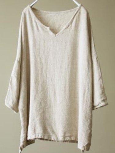 Beige Patchwork Long Sleeve Cotton-Blend Shirts & Tops