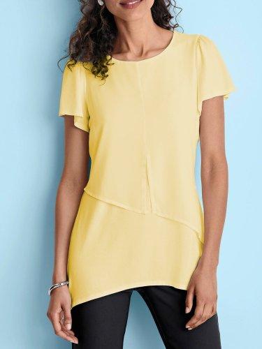 Chiffon Casual Round Neck Short Sleeve Shirts & Tops